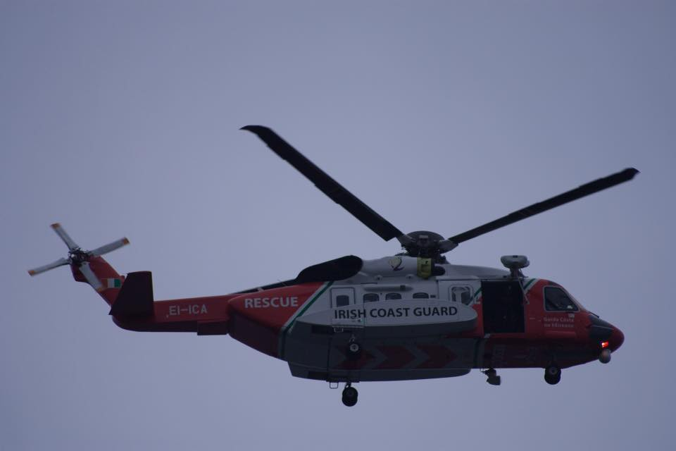 Rescue 115 conducting a search from the sky.